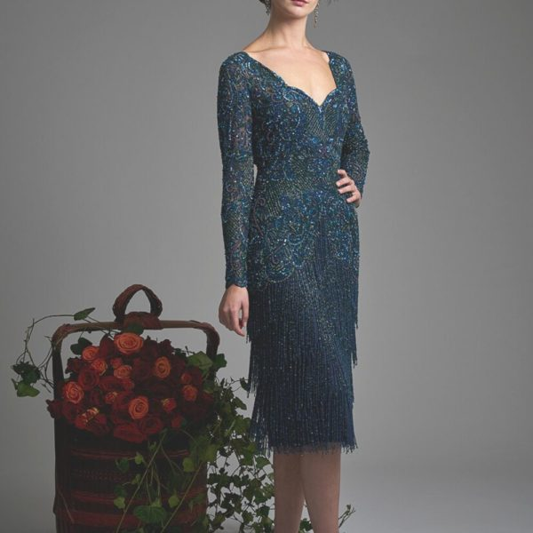 Gill Harvey Peacock Blue Dress 5033 - Snooty Frox
