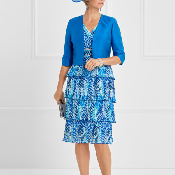 Blue dress with tiered skirt
