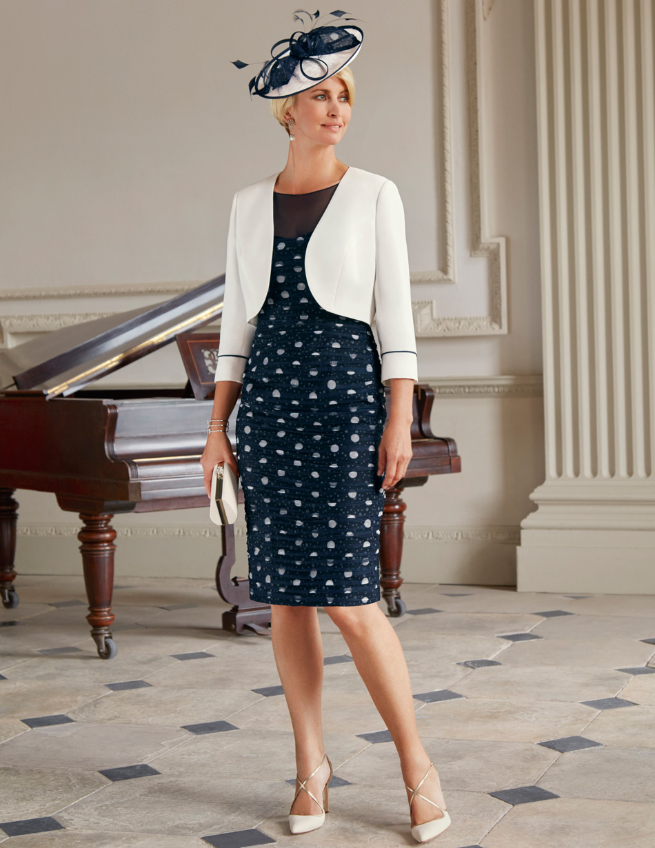 Fitted polka dot navy dress