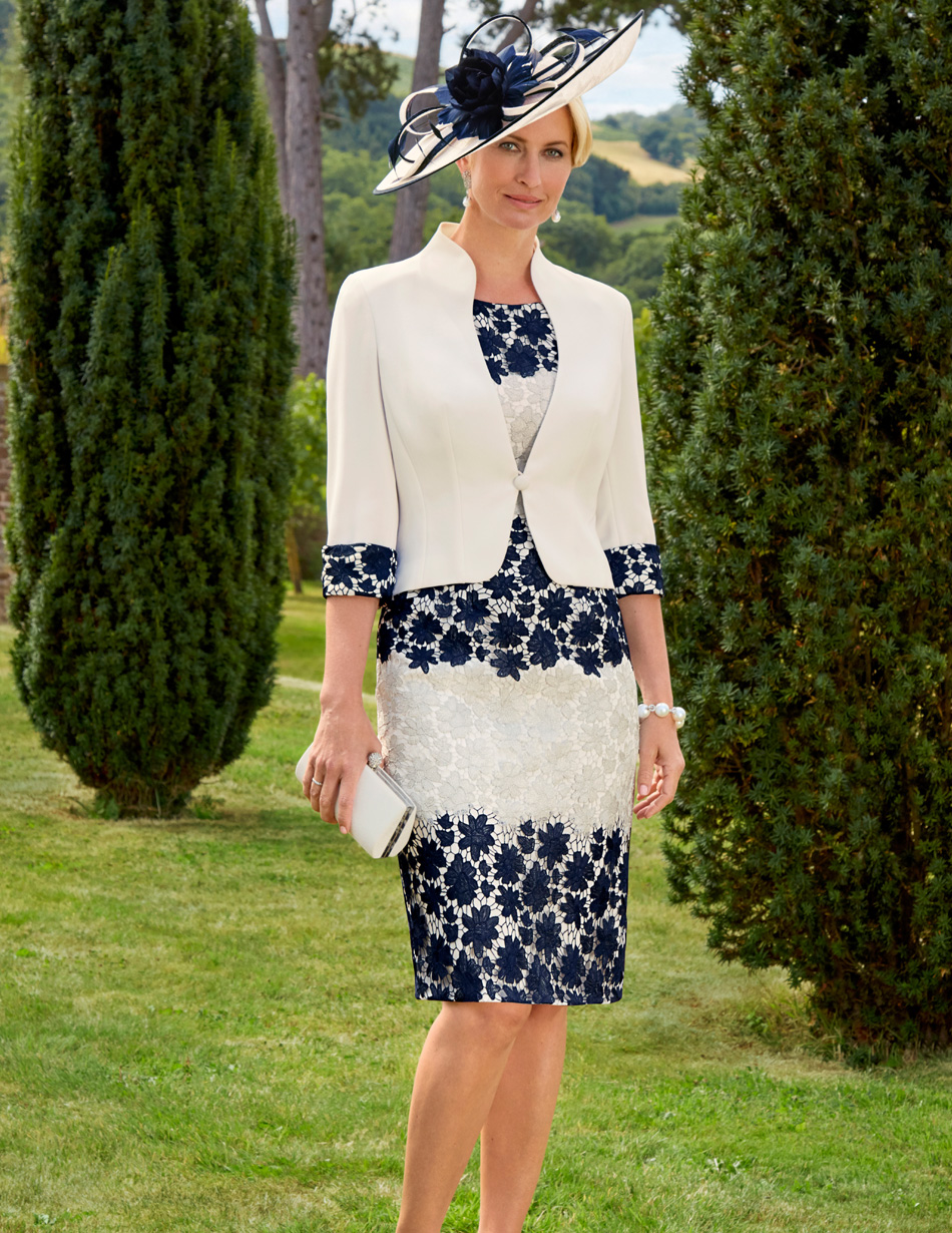 Navy and cream lace applique dress