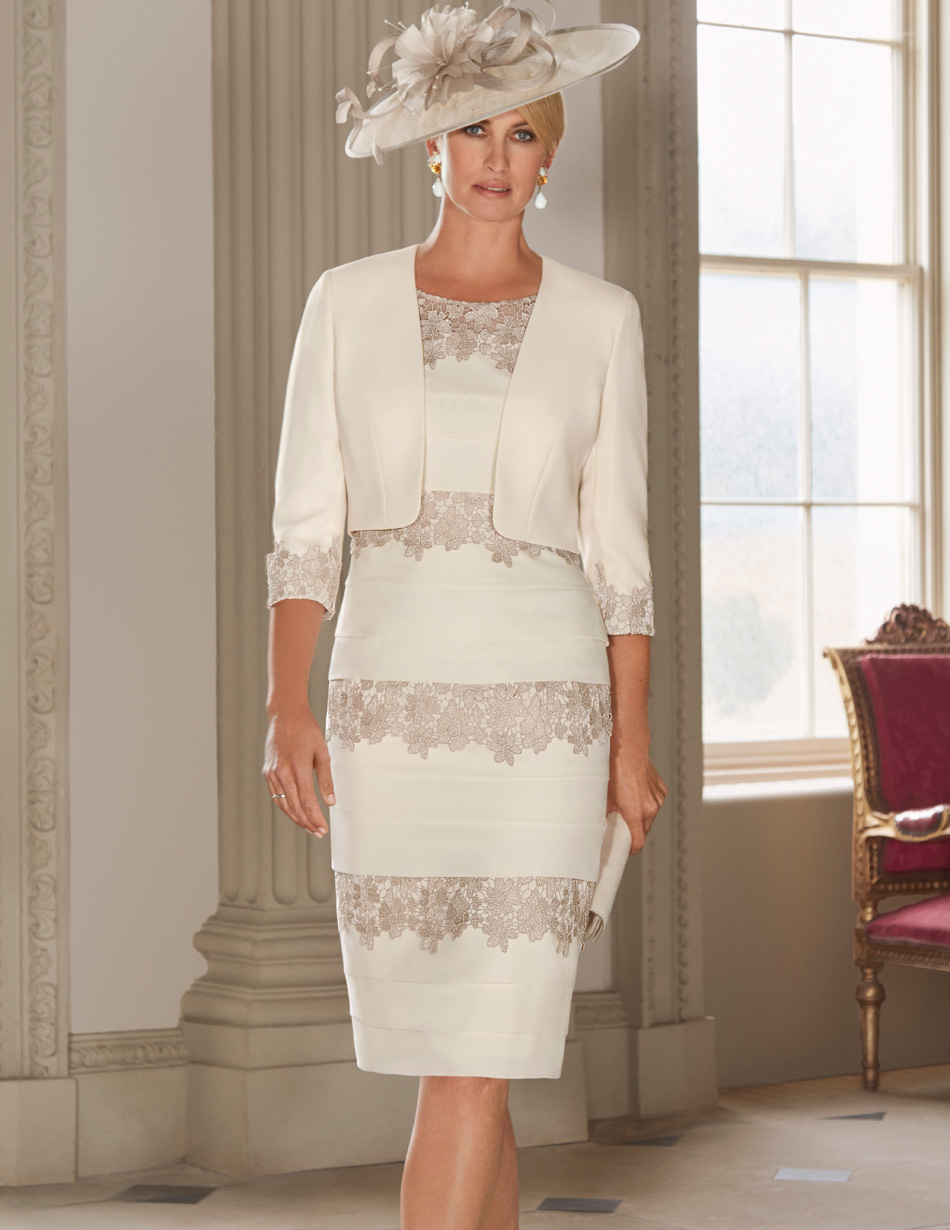 Cream lace applique dress