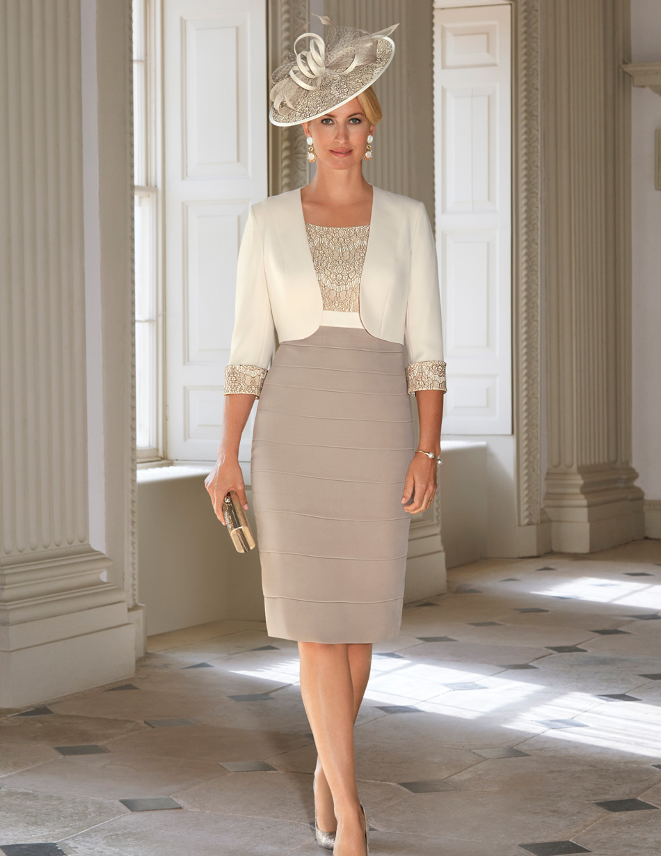 cream and bisque fitted dress