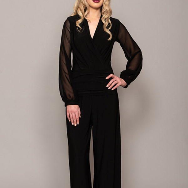 Black sheer sleeved jumpsuit