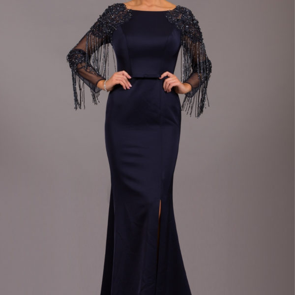 Navy long embellished dress