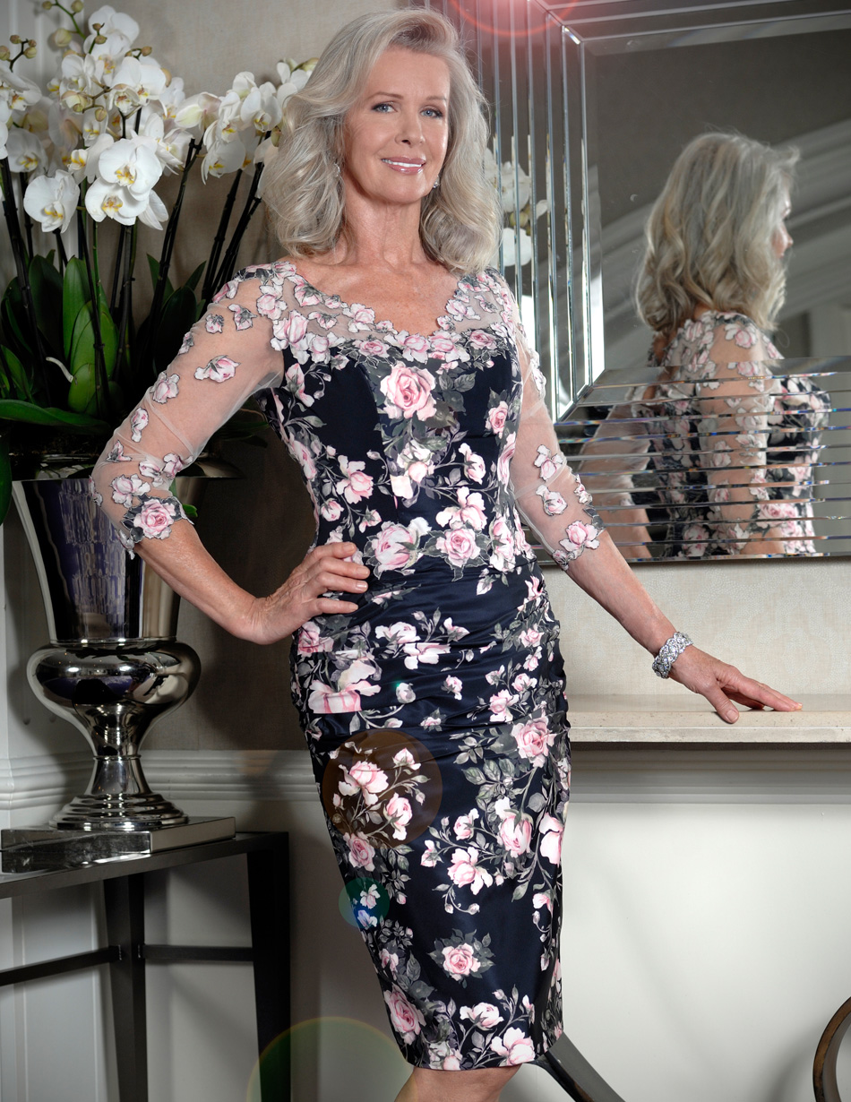 Rose print fitted dress
