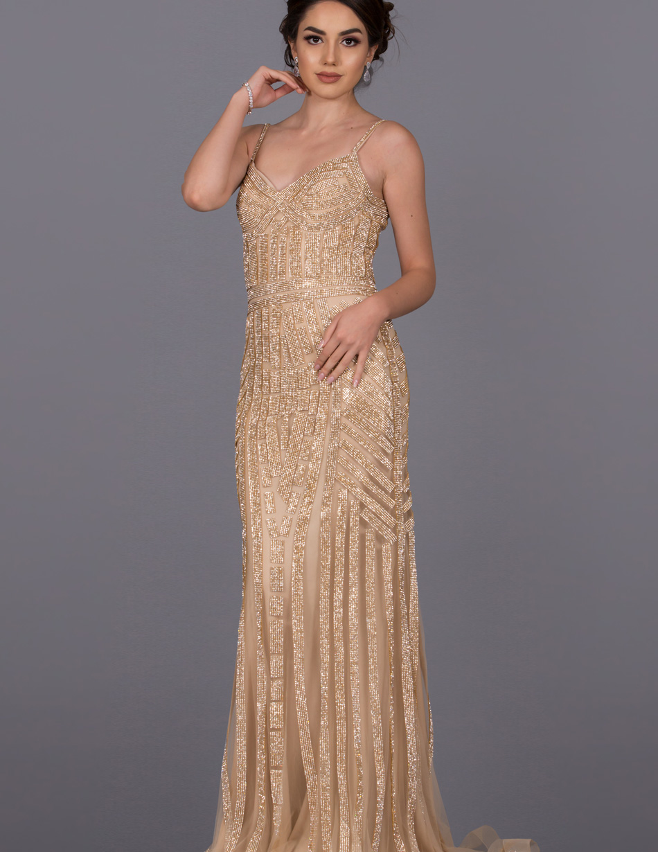 Long Embellished Gold Dress