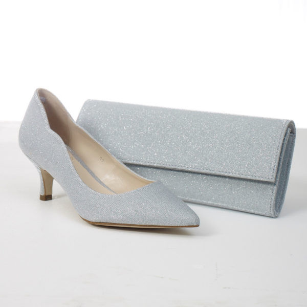 Lisa Kay Mary Bag and Carlton Shoe Grey Shimmer Snooty Frox