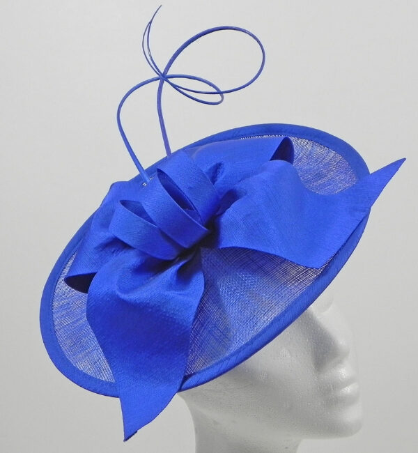 Blue fascinator with ribbon detail snooty frox
