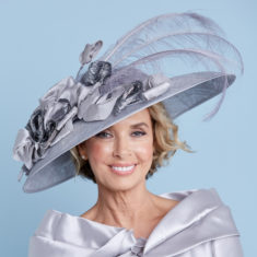 grey hat with large feathers snooty frox