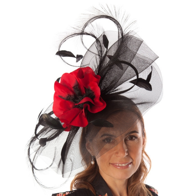 black and red fascinator snooty frox
