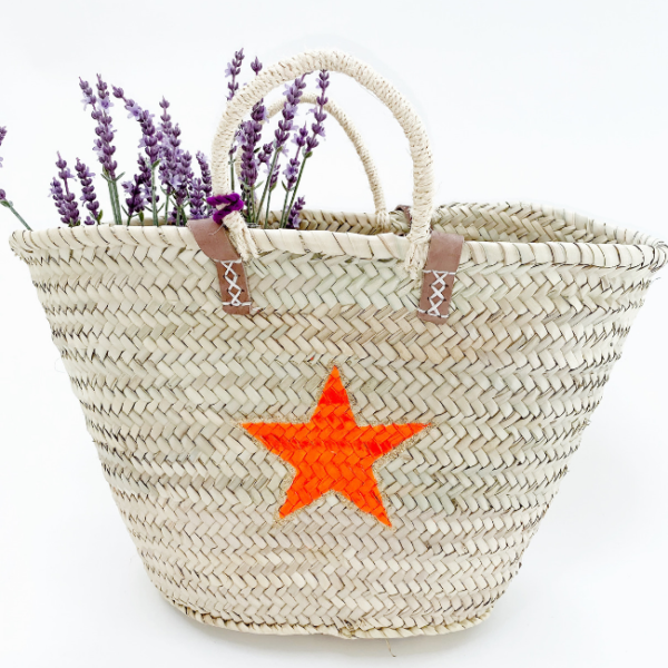 Orange Star Raffia Bag