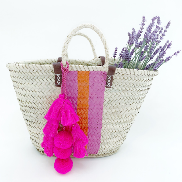 Pink Stripe Raffia Bag Snooty Frox