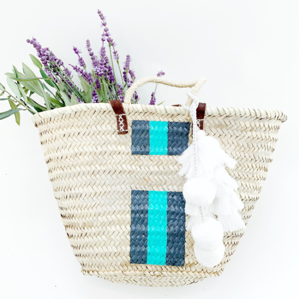 Blue Stripe Raffia Bag Snooty Frox