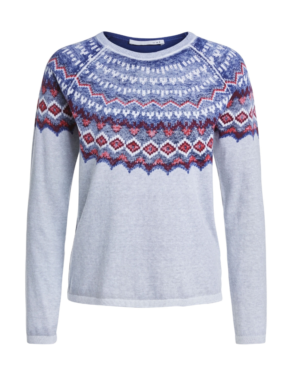 oui patterned blue and grey jumper snooty frox