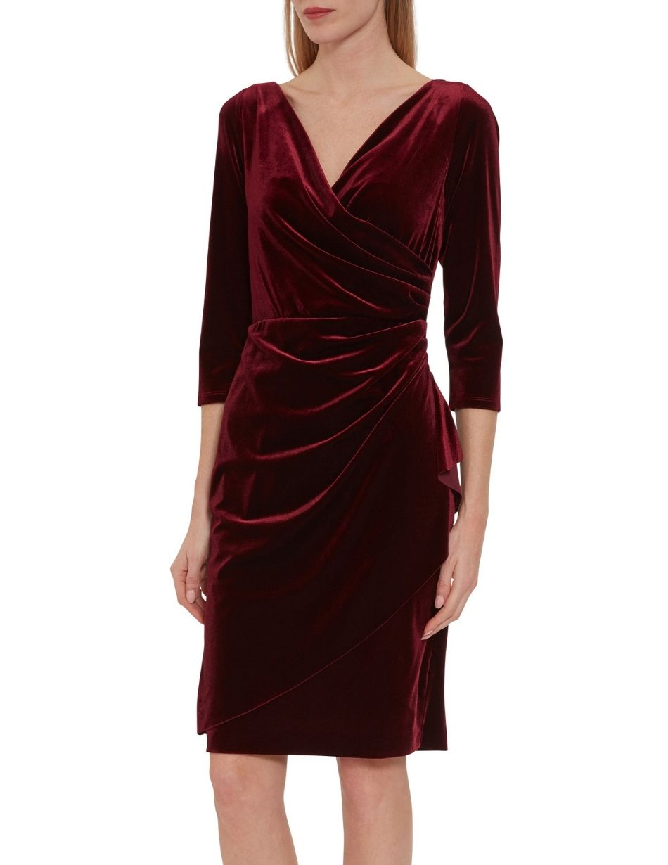 Gina Bacconi Wine Velvet Dress Snooty Frox
