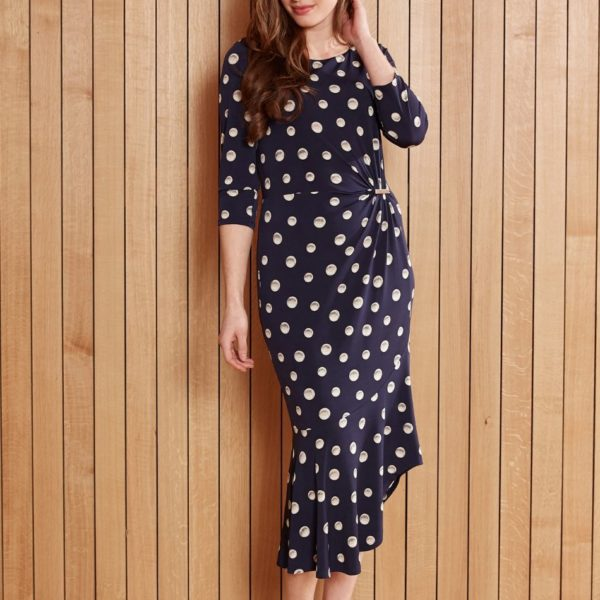 Gina Bacconi 2556 Navy Spot Dress