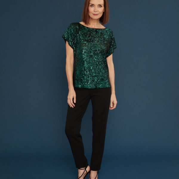 Gina Bacconi 2595 Green Sequin Top