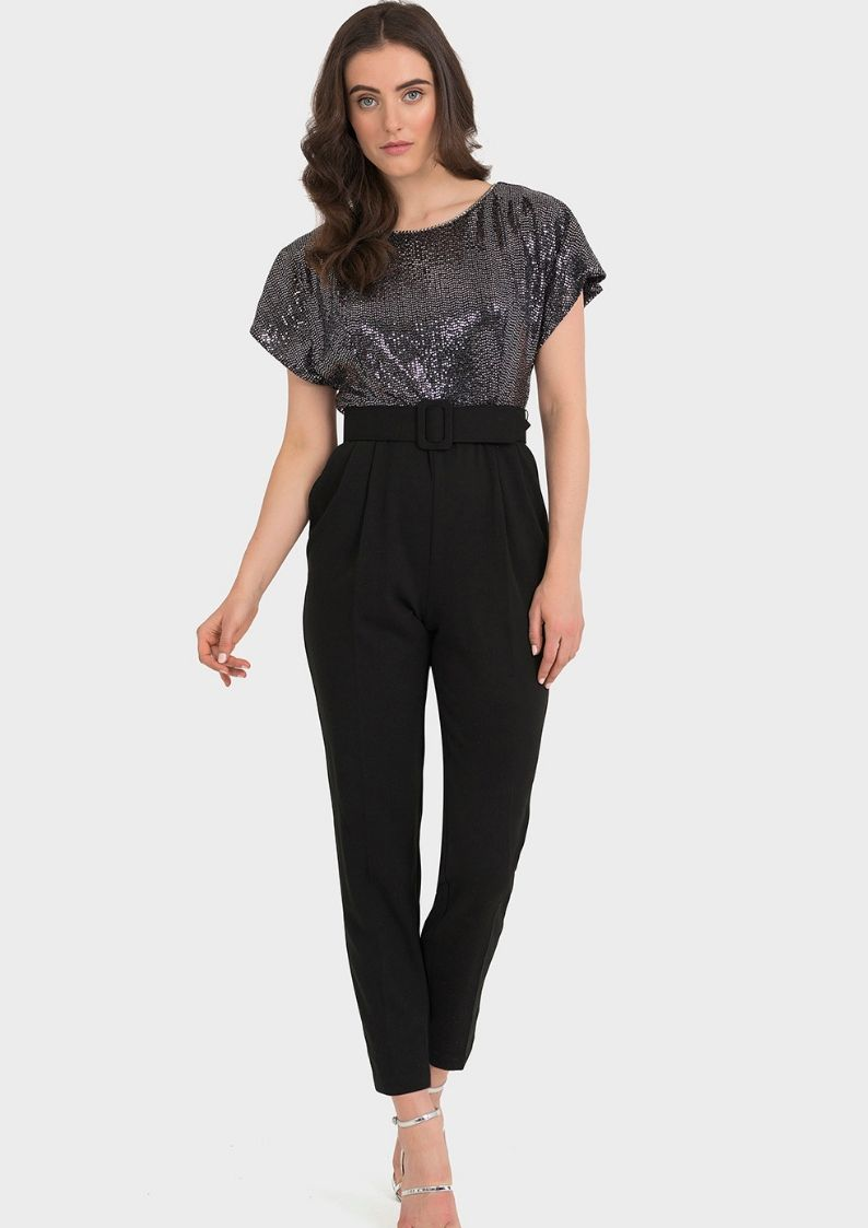 Joseph Ribkoff Black and Silver Jumpsuit - Snooty Frox