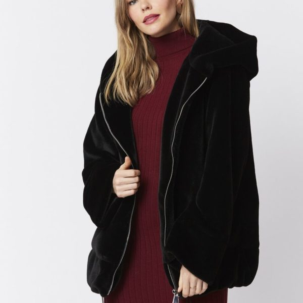 Jayley Black Faux Fur Coat - Snooty Frox
