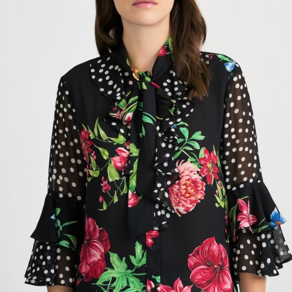 Joseph Ribkoff Black Floral Blouse - Snooty Frox