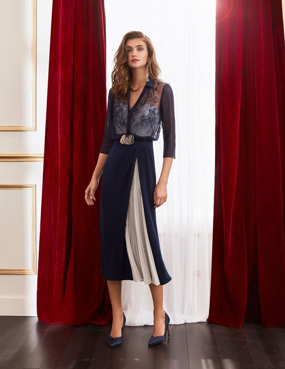 Rosa Clara Navy and Silver Dress - Snooty Frox