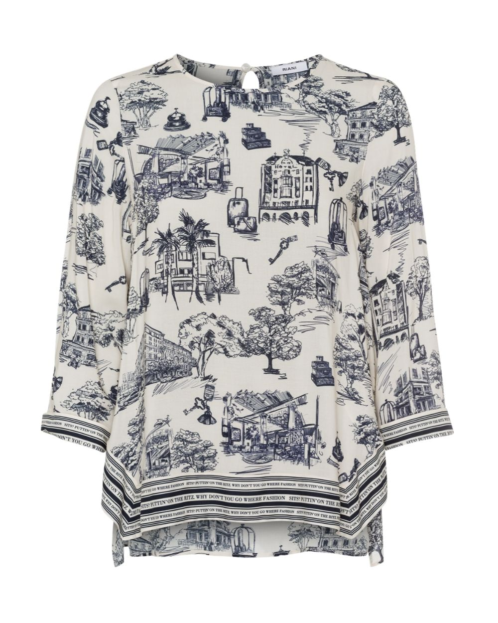 Riani Ivory Print Blouse - Snooty Frox