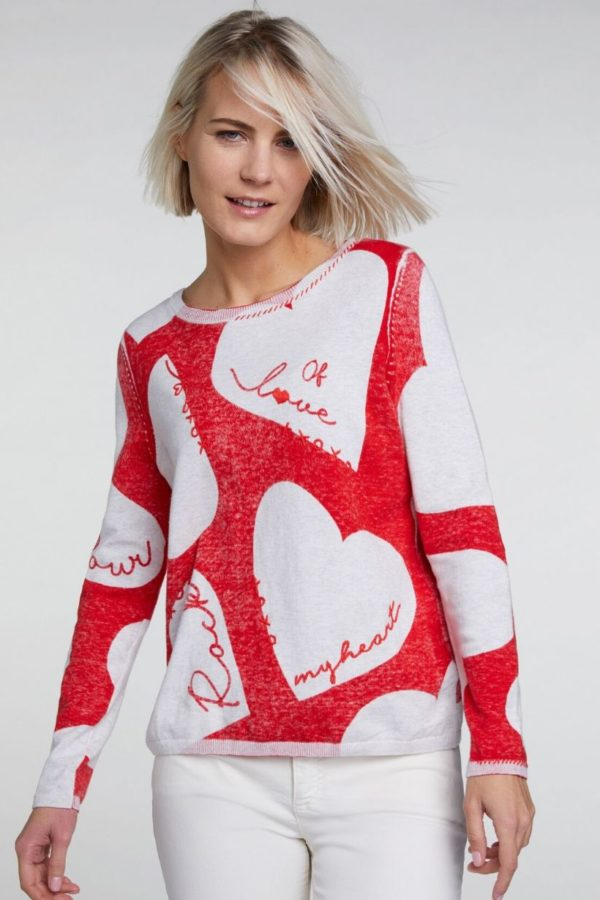 Oui Red Heart Jumper - Snooty Frox