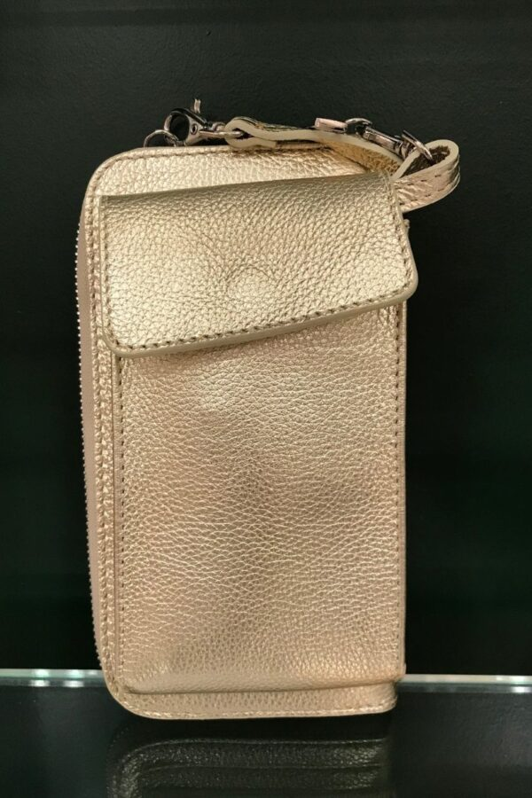 Gold phone pocket handbag