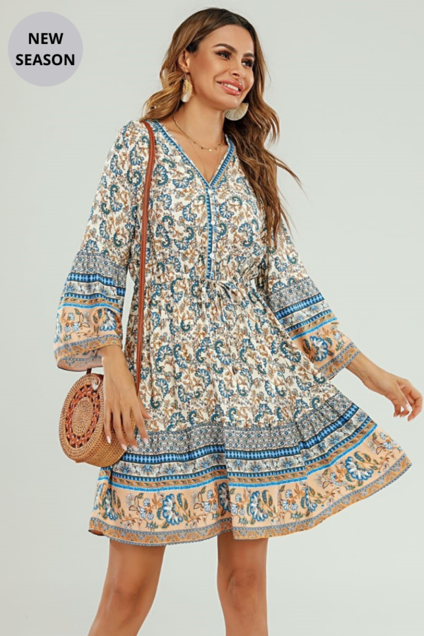 Blue Floral Dress - Snooty Frox