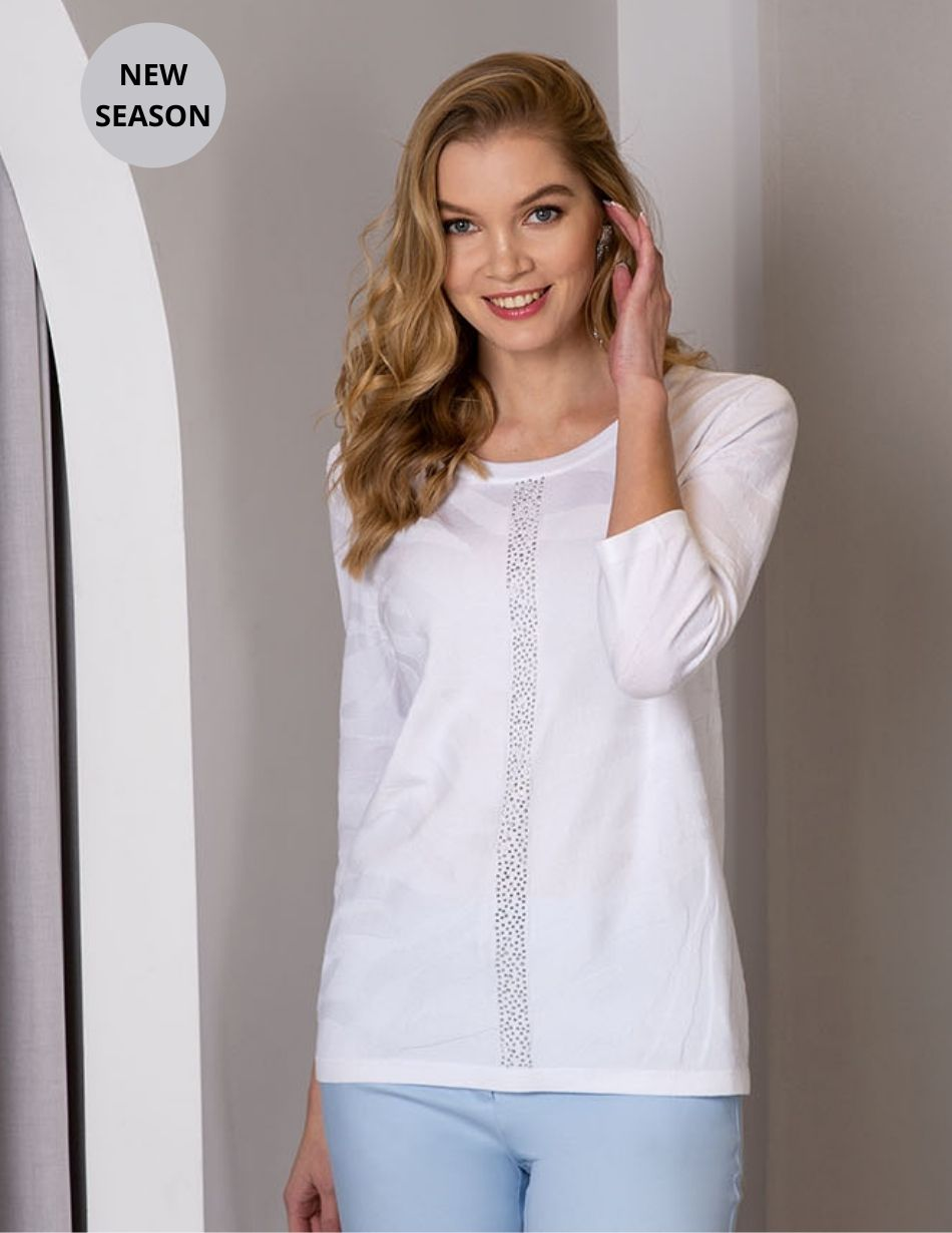 Passioni White Patterned Top - Snooty Frox