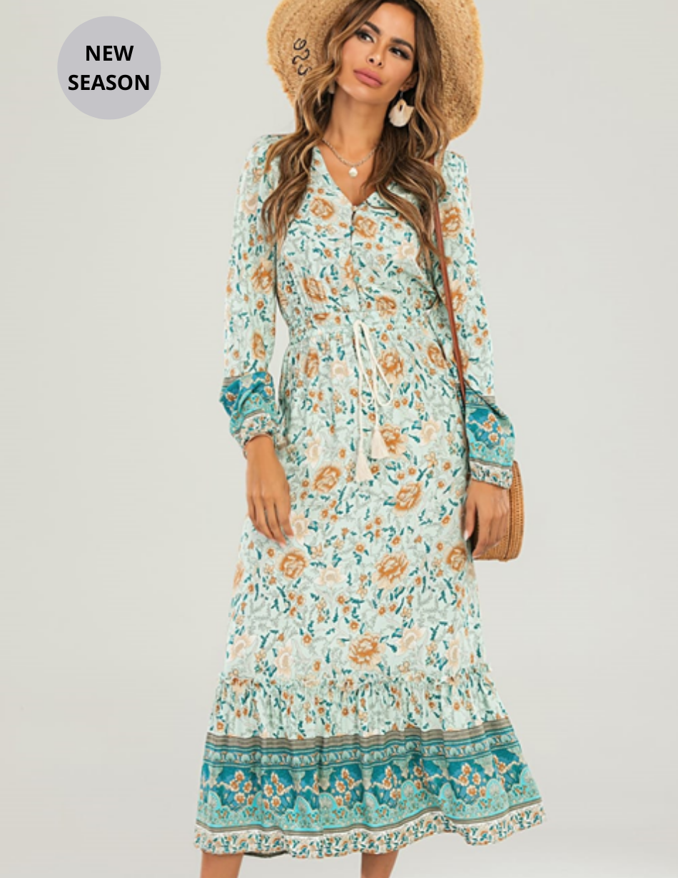 Mint Green Floral Dress - Snooty Frox
